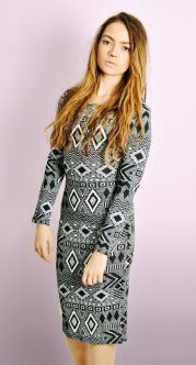 Monochrome Aztec Print Dress